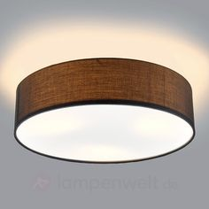 Graue LED-Deckenleuchte Sebatin aus Stoff