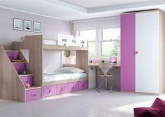 Habitación infantil con literas armario y escritorio