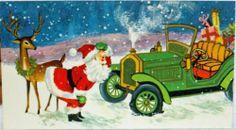 #976 70s Santa's Jalopy Car Breaks Down-Deer- Vintage Christmas Greeting Card