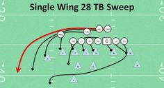 WILDCAT -- Single Wing Sweep TB 28 Right Favorite Youth Football Play Best Top SW Play