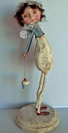 by Dawn Tubbs, Folk Art Cupcake Angel Doll Paper Mache Mix, Paper Mache Sculpture, Sculpture Art, Clay Dolls, Art Dolls, Paper Clay Art, Paper Crafts, Cupcake Art, Paperclay