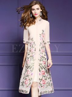Shop for high quality Vintage Embroidered Print Stand Collar A-line Skater Dress online at cheap prices and discover fashion at Ezpopsy.com