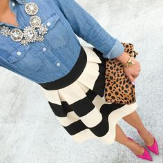 Denim shirt, wide horizontal-striped skater skirt is cute, statement necklace, leopard clutch and pink pumps POP it up to CUTE!