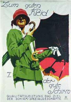 By Ludwig Hohlwein, 1 9 2 7, For good dress the good umbrella. (G) Autor : Ludwig Hohlwein (Germany 1874-1949)