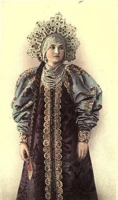 Russian aristocratic woman's costume, with kokoshnik headpiece 1890s