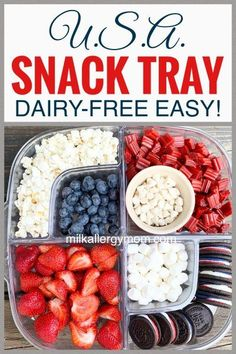 Cheer on your favorite USA team with this dairy-free snack tray! Brands and ingredients listed at Milk Allergy Mom. Dairy Free Snacks, Dairy Free Milk, Milk Allergy, Food Allergies, Tray, Mom, Vegetables, Recipes, Cheer
