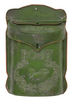Green Post Box is a decorative metal post box with a rusted, mossy green finish. Box has a flat back and a pre-drilled hole for hanging. The top of the box hinges open for easy storage.Size: high by wide and deepMaterial: Metal Condition: New Metal Mailbox, Wall Mount Mailbox, Mounted Mailbox, Vintage Mailbox, Iron Age, Post Box Wall Mounted, Box Hinges, Tin Walls, Rustic Doors