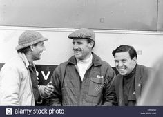 Download this stock image: Racing at Snetterton, 2nd April 1963. Racing Drivers, Graham Hill (centre) and Jim Clark (right). - ERKKN8 from Alamy's library of millions of high resolution stock photos, illustrations and vectors.