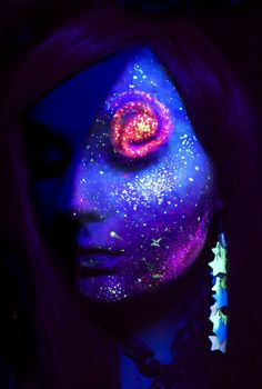Space Face Makeup. Any Halloween party with a black light theme = this makeup would rock it.