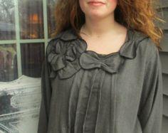 Camisa de lana rayas parduscas franela poeta pétalo S