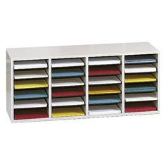 Safco 9423GR Wood Adjustable Literature Organizer with 24 Compartment - Gray - 9423GR