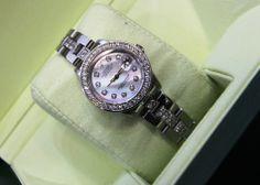 Stunning Custom Ladies Stainless Steel Rolex w/ Diamonds!