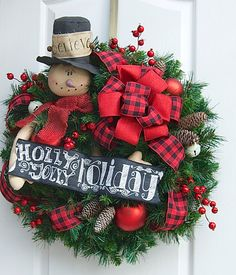 Snowman wreath Christmas Wreath Holidays by SignsStuffnThings