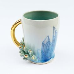 READY TO SHIP Sculpted  Growing Crystal Mineral Cluster Porcelain Mug