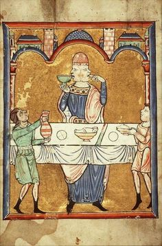 Two faced man dining, from the Fécamp Psalter, c. 1180