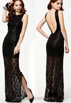 WomensDate New Sexy Backless Club Dresses Black Lace Maxi Dress With Sequins Casual Fashion Women Long Vestido Longo De Renda