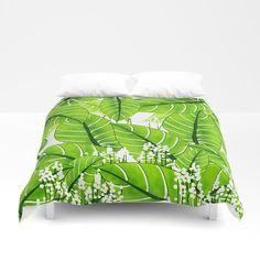 Spring Green Leaves - Summer Mood - Green and White Duvet Cover by pivivikstrm Foot Of Bed, Twin Twin, Soft Duvet Covers, Spring Green, White Decor, Duvet Insert, Outdoor Furniture, Outdoor Decor, Hand Sewn