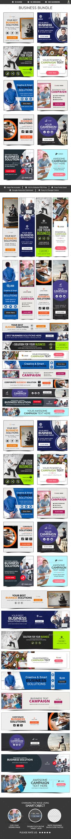 Business Banners Templates PSD Bundle - 10 Sets - 180 Banners