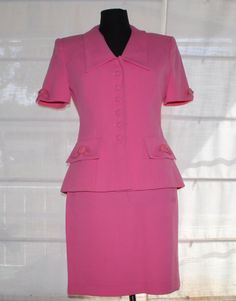 Vintage 80's pink short sleeved skirt suit. by TheBonjEmporium