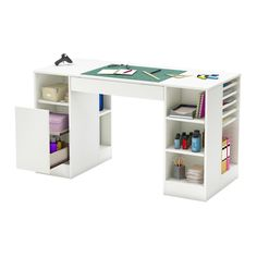 Perfectly designed for function, this white craft table from the South Shore Crea collection is the perfect work space. Featuring multiple shelves and drawers, this storage craft table is easy to keep