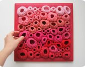 Modern Fiber Art Soft Sculpture in Red, Fuchsia, and Pink - Papillae, via Etsy. Crochet Crafts, Crochet Projects, Crochet Wall Art, Art Du Fil, Creative Textiles, Freeform Crochet, Soft Sculpture, Beautiful Crochet, Crochet Flowers