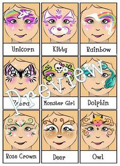 Face Painting Menu 4 Page Bundle Digital by PatchesTheClown