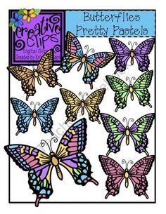Butterflies Pretty Pastel Clipart 2.00