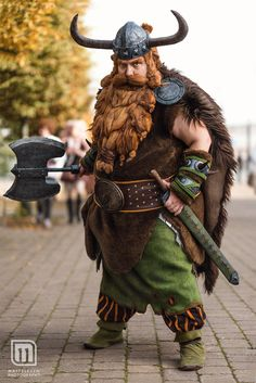 Stoick the Vast - Chief of Berk by dudus-senchou dwarf Viking helmet battleaxe sword fighter barbarian cosplay costume LARP LRP armor clothes clothing fashion player character npc | Create your own roleplaying game material w/ RPG Bard: www.rpgbard.com | Writing inspiration for Dungeons and Dragons DND D&D Pathfinder PFRPG Warhammer 40k Star Wars Shadowrun Call of Cthulhu Lord of the Rings LoTR + d20 fantasy science fiction scifi horror design | Not Trusty Sword art: click artwork for source