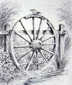 Pencil drawings of Wagons | Wagon Wheel Graphite Pencil Drawing. Print from an Original Drawing ...