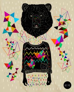 I love the geometric patterns in this artwork by Kris Tate. #geometric #triangles #bear #art