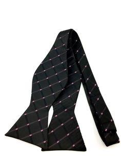 Trendy Black with Pink and White Checks Self Tied Bowtie Ties Online, Formal Tie, Bowties, Plain Black, Wedding Men, Groomsmen, Gentleman, Stylish, Pink