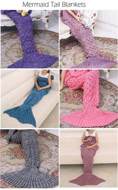 Mermaid Tail Blankets For Adults and Kids... i fucking love these!! If i get the proper fabric, i will have to try and make one!!!