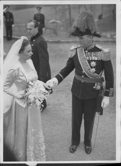 Olav V of Norway, King Olav, Norwegian Royal Family, photograph, black and white, clothing, people, man, monochrome photography, monochrome, dress, bride, groom. This photograph originates from a press photo archive. | eBay!