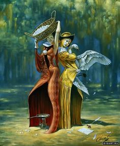 Division of Prime Cause Art by Michael Cheval Surreal illusion art Fantasy Art whimsical Art Surrealism Painting, Pop Surrealism, Painting Art, Wassily Kandinsky, Art Magique, Pierrot Clown, Magic Realism, Art Sculpture, Whimsical Art