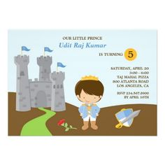 If you are looking for invitation cards for your kid's birthday, then this cute Prince Birthday Invitation Card is perfect for you, and it's totally customizable!