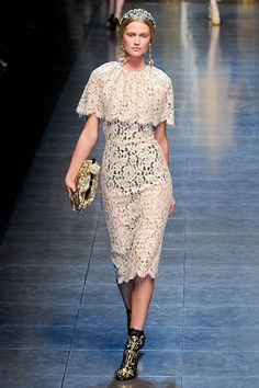 Interesting inspirational dress - classic yet totally modern.  Love the length, cut, sheer lace, but a nude or off-white slip underneath would be needed.