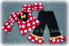 Minnie Mouse outfit-Maybe for her b-day party; and have her name embroidered. Would like pink instead of red