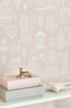 The wallpaper Small Town Dusty Pink - from Majvillan is a wallpaper with the dimensions x m. The wallpaper Small Town Dusty Pink - belon Kids Room Wallpaper, Love Wallpaper, Bedroom Wallpaper, Easy Up, Kids Wall Decor, Dusty Pink, Wall Colors, Girl Room, Girls Bedroom
