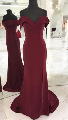 V-neck Off Shoulder Long Burgundy Mermaid Prom Dresses Leg Split Evening Gowns 2018 Sexy