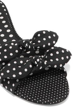 Tabitha Simmons - Cleo Bow-embellished Polka-dot Twill Slides - Black - IT36