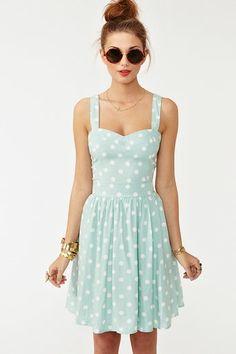Polka dot mint dress. All of my standard elements