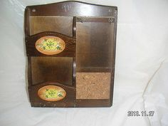 WOOD MAIL Storage Organizer RACK has 2 Storage SLOTS, 4 KEY-HOOKS, CORK-Board Area, and Punched-NotePAPER HOLDER.  Bill, Note, Message Storage WALL RACK with 2-Slot s & 4-Key Holder  [MsFrugaLady on ebay,  11/30/2013]