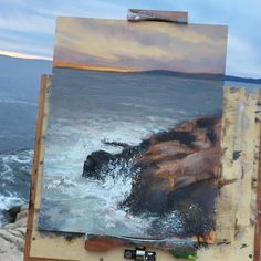 1,887 вподобань, 33 коментарів – Layne Johnson | LANDSCAPE ART (@laynejohnsonstudio) в Instagram: «(No. 10) Painting the sunset at Schoodic Point. Beautiful crashing waves. . I'm painting plein air…»