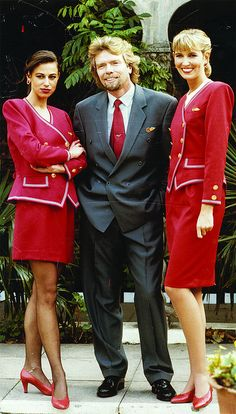 Elizabeth Emanuel designed-uniforms - Virgin Atlantic 1980's. Mr. Branson is the one with the beard.
