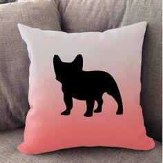 White Ombre French Bulldog Pillow