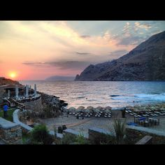 Marmari Paradise sunset Beach Bars, Greece, Mountains, Water, Travel, Outdoor, Colors, Greece Country, Gripe Water