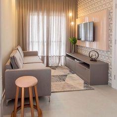 Sala pequena decorada: 70 inspirações e ideias para você! Tiny Living Rooms, Home Living Room, Living Room Decor, Living Room Tv Unit Designs, Modern Apartment Decor, Home Room Design, Cozy Room, House Rooms, Compact