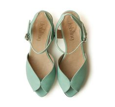 Mint Adelle Sandals, Handmade Leather shoes, green Shoes, Women heels sandals free shiping on Etsy, 1 kr Mint Sandals, Mid Heel Sandals, Mid Heel Shoes, Leather Sandals, Shoes Sandals, Flat Shoes, Mint Green Shoes, Green Heels, Green Wedding Shoes