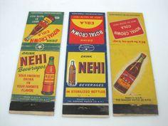 3 Vintage Matchbook Covers NEHI  BEVERAGES- ROYAL CROWN COLA
