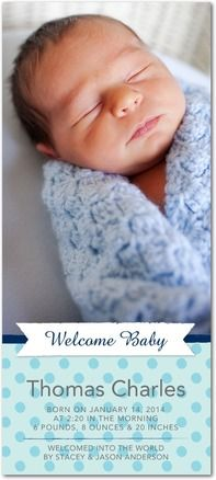 Adorable Beginning - Studio Basics: Birth Announcements - Multiple Blessings - Navy Blue #baby
